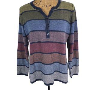 Liz Claiborne Striped Henley Style Sweater